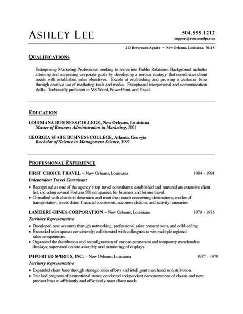 public relations resume