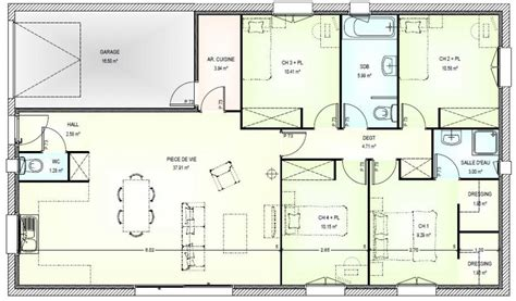 plan pavillon 100m2 plan maison 5 pieces plan maison plans de