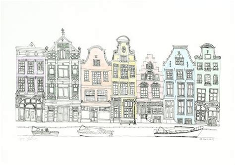 lines drawing boat building george with ears row of amsterdam inspired houses with