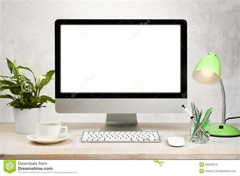 wallpaper of computer table workspace background with desktop pc and office