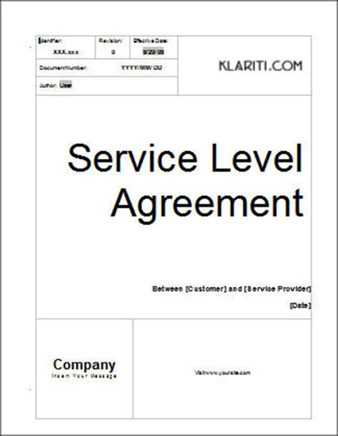 free service level agreement template service level agreement template software software