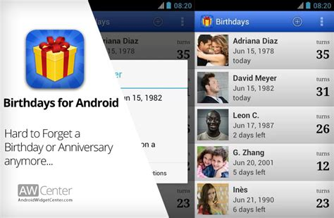 reminder app android birthdays android birthday reminder app and widget aw center