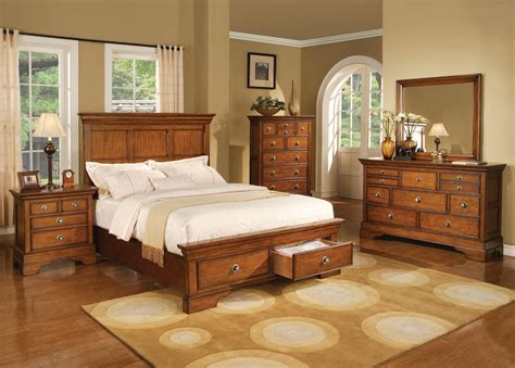 king panel bedroom set in light brown finish bedroom furniture bedroom sets
