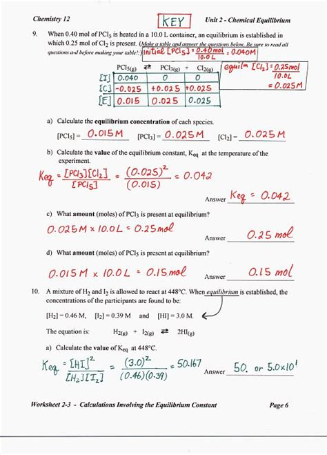 Chemistry Unit 5 Worksheet 2 Answer Key by Chemistry 12