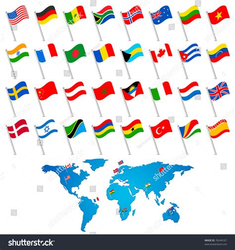 world map with country name and flag illustration set flag different countries world stock