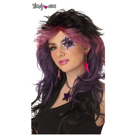 80s rock n roll makeup rocker wig gem wig jem wig 80s rockstar wig rock n