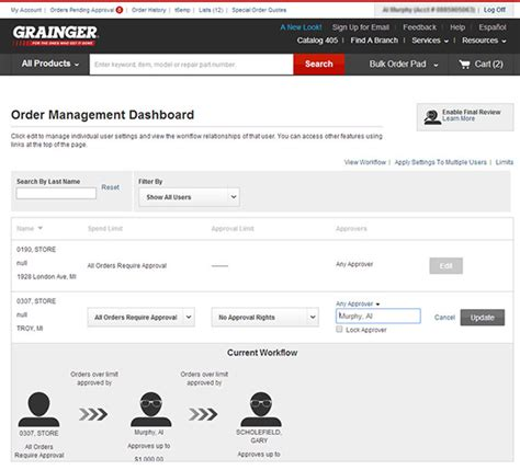 order management system workflow workflow set up and editing grainger industrial supply
