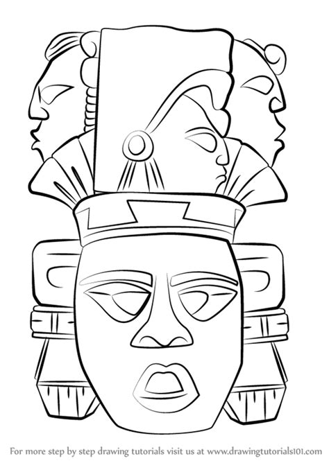 How To Draw Aztec Calendar Step By Step learn how to draw indian mayan aztec mask masks step by
