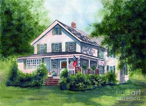 country farm house white country farmhouse painting by janine riley