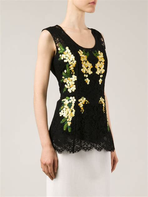 Floral Embroidered Top lyst dolce gabbana floral embroidered lace top in black