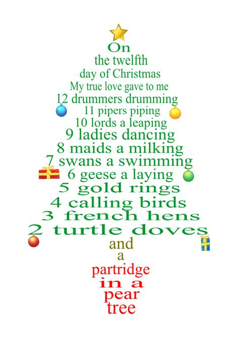 12 day of christmas lyrics as tree decorations