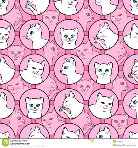 seamless pattern cats seamless pattern with cute white cats cartoon vector
