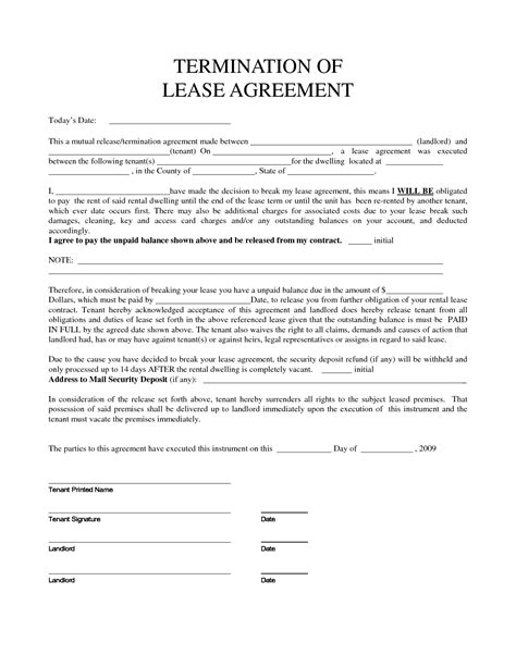 Exle Of Termination Of Lease Agreement Letter Personal Property Rental Agreement Forms Property
