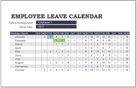 employee leave calendar templates for ms excel word