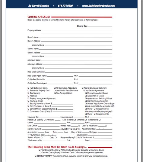 Real Estate Closing Checklist Template by Real Estate Closing Checklist Template Images Template
