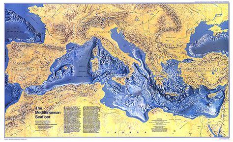 map of mediterranean sea mediterranean seafloor map oceans map archive wall maps