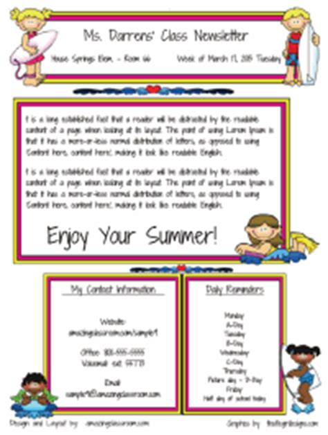 Amazing Newsletter Templates custom classroom newsletter printable sle home