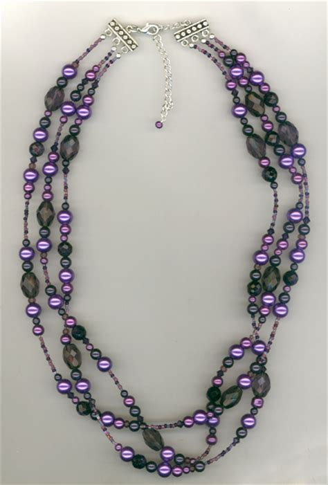 Necklace Handmade Design - melinda jernigan purple chagne beaded and pearls