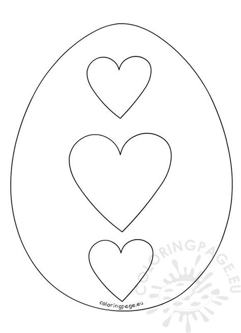 hearts easter egg outline coloring page
