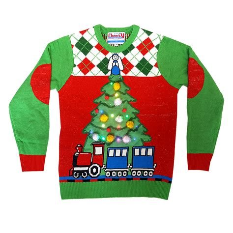 tree and train light up christmas jumper unisex cheesy
