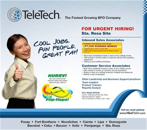 call center teletech urgent hiring in sta rosa site