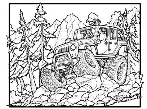 jeep rubicon coloring pages fun jeep wrangler unlimited off roading great one for