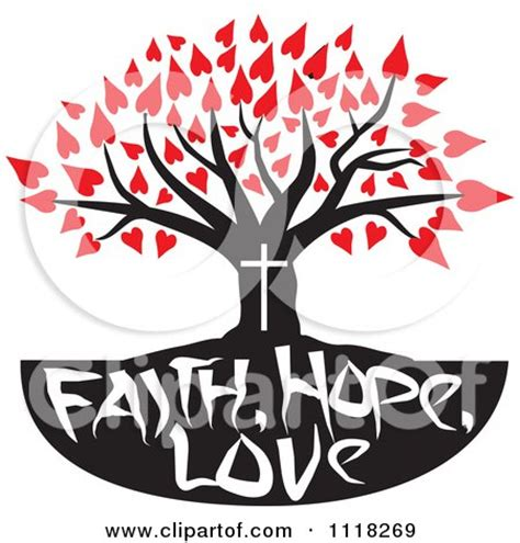 cartoon of a christian family tree with faith hope love