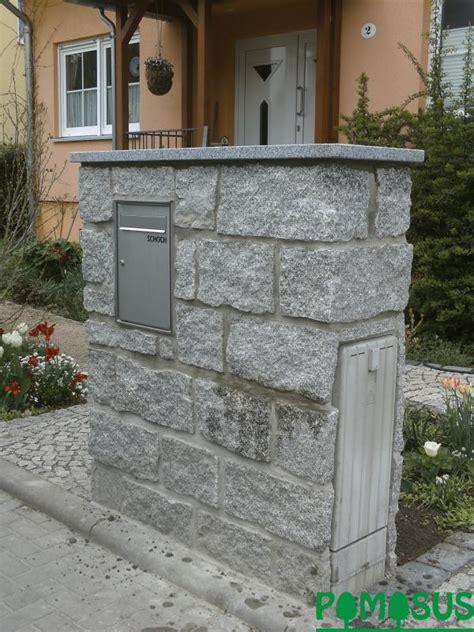 Briefkasten Einbau Mauer by Pomosus Garten Und Landschaftsbau Gt Granitmauer Mit