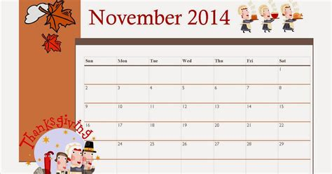 november 2014 calendar template free printable november 2014 calendar for