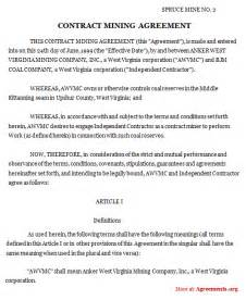 contract mining agreement sample contract mining