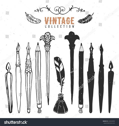 vintage logo generator stock vector image of brush vintage retro old nib pen brush stock vector 222634354