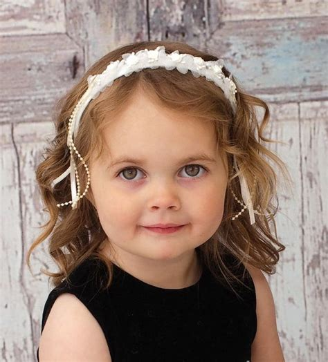 Adorable Girls Headband Of Ivory Silk Flowers Great For | adorable girls headband of ivory silk flowers great for