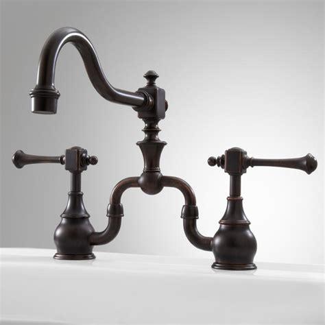 antique bridge faucet signaturehardware com signature hardware vintage bridge kitchen faucet with