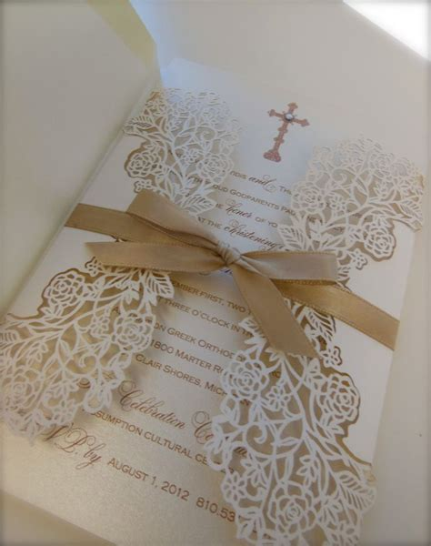 Handmade Communion Invitations - christening invitation paper invitations