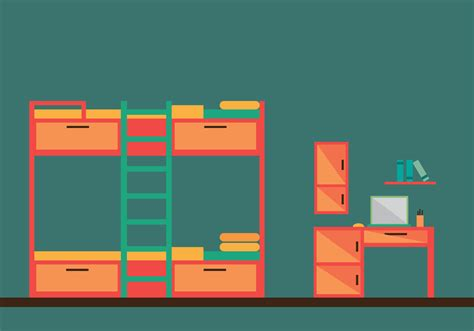 bed vector free bunk bed room vector illustration download free vector art stock graphics images