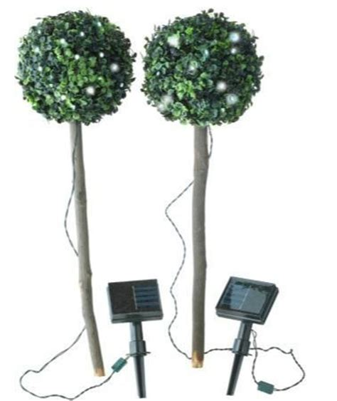Solar Powered Led Path Garden Solar Set Of 2 Bay Tree Artificial Topiary Trees With Solar Lights