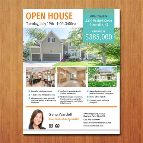 open house customized real estate flyer