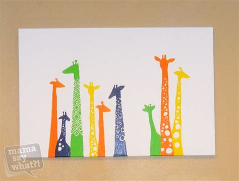 diy canvas projects cheap and easy colorful diy canvas painting nursery giraffes diy galore