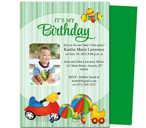 Toys Baby 1st Birthday Printable Invitation Template Edits Easily To Your Own Details With Word Baby 1st Birthday Invitation Card Template