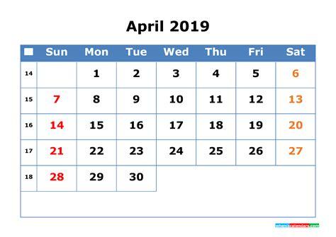 printable calendar  april  week number  printable  calendar  holidays