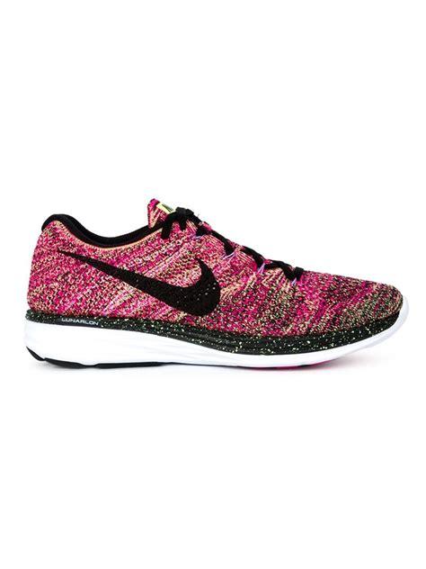 nike flyknit sneakers nike flyknit lunar 3 sneakers in pink lyst