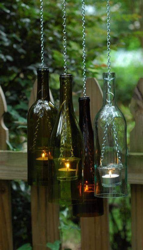 Outdoor Tea Lights Bottle Chain Hanging Wine Bottle Lantern Glass Tea Light Candle Holder For Indoor Outdoor