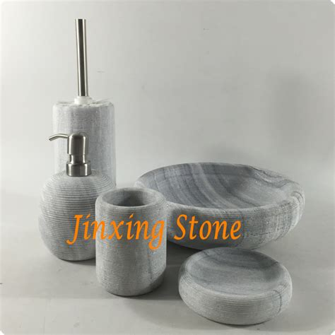 Lines Bathroom Accessories by 5pcs Set Grey Marble Bathroom Accessories With Engraved