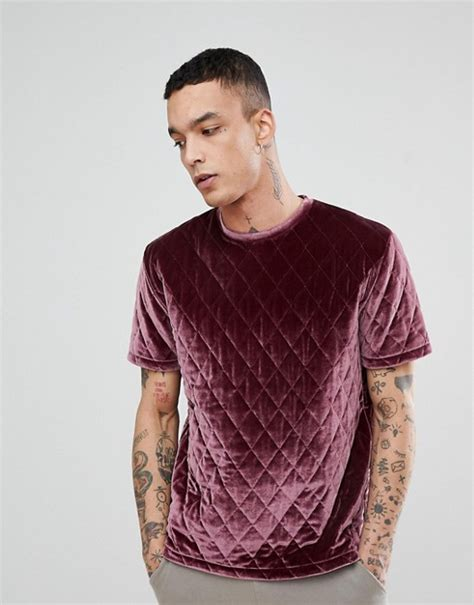 Asos T Shirt In Pink asos design asos relaxed t shirt in quilted velour in pink