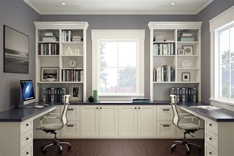 white home office home office with built in cabinets