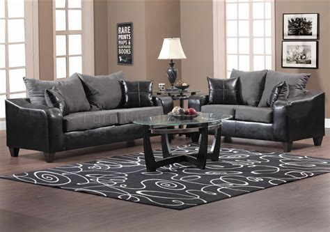 black couch set black vinyl and grey fabric modern sofa loveseat set w