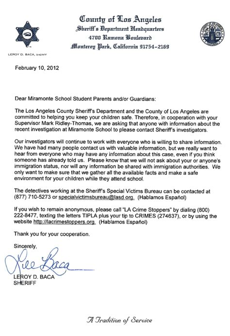 Parent Donation Letter Sheriff Letter To Miramonte Parents We Will Not Ask About Immigration Status 89 3 Kpcc