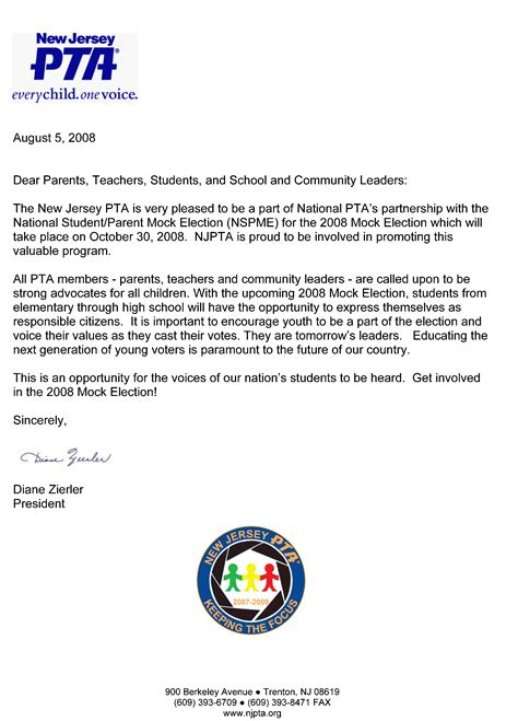 thank you letter to parents from pta thank you letter for pta president just b cause