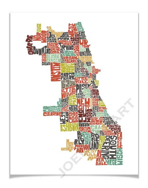 chicago map illustration chicago map chicago print chicago typography map