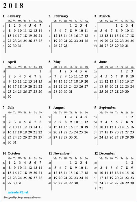 Numbered Week lovely 2018 calendar numbered weeks calendar